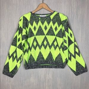 Vintage 90s neon geometric cropped sweater